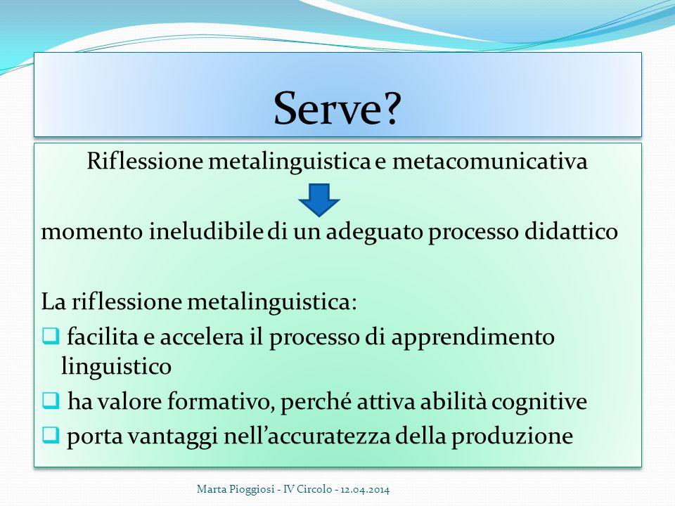 Serve? Riflessione metalinguistica e metacomunicativa momento ineludibile di un adeguato processo didattico La riflessione metalinguistica:  facilita