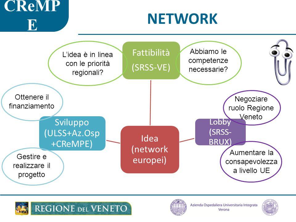 NETWORK Idea (network europei) Fattibilità (SRSS-VE) Lobby (SRSS- BRUX) Sviluppo (ULSS+Az.Osp +CReMPE) L'idea è in linea con le priorità regionali.