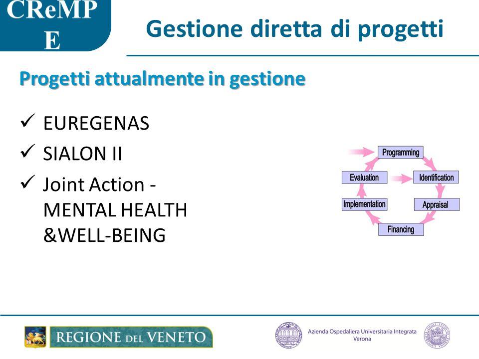 Progetti attualmente in gestione EUREGENAS SIALON II Joint Action - MENTAL HEALTH &WELL-BEING Gestione diretta di progetti