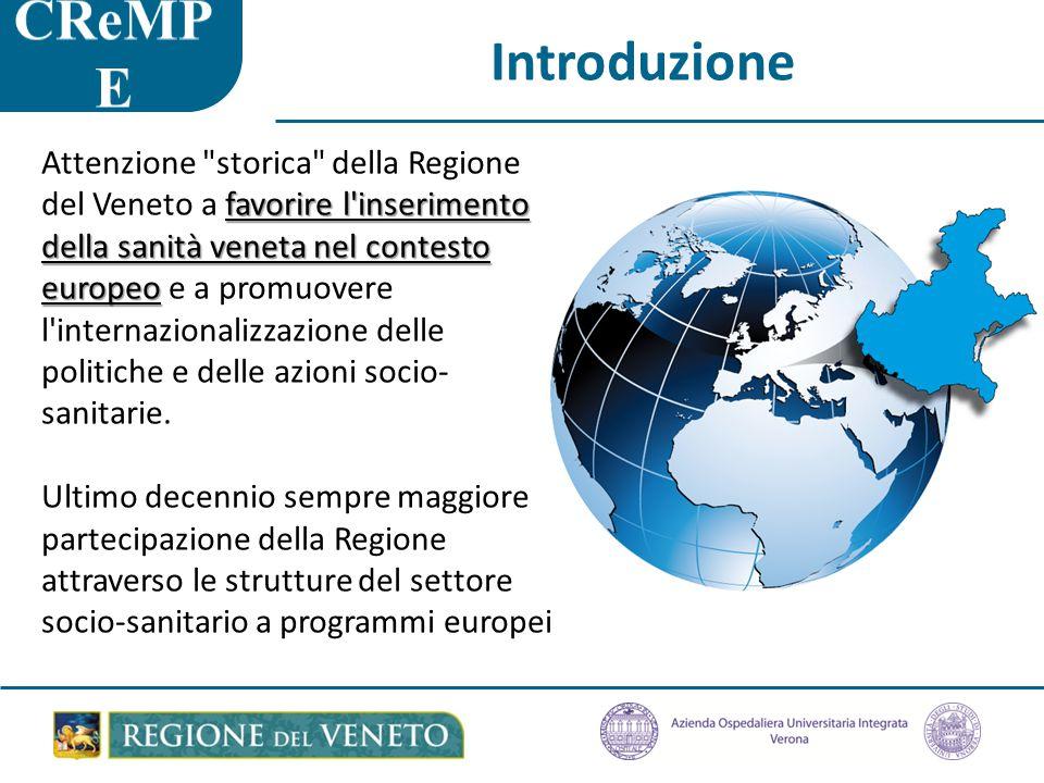 Introduzione favorire l inserimento della sanità veneta nel contesto europeo Attenzione storica della Regione del Veneto a favorire l inserimento della sanità veneta nel contesto europeo e a promuovere l internazionalizzazione delle politiche e delle azioni socio- sanitarie.