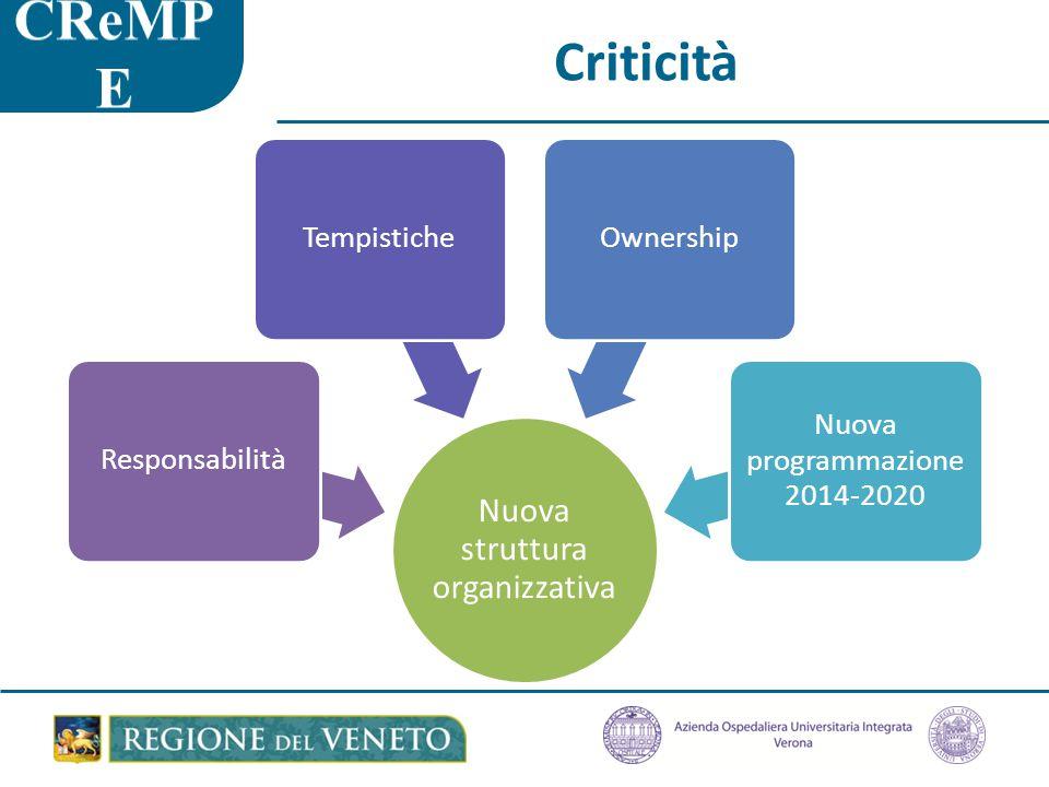 Criticità Nuova struttura organizzativa ResponsabilitàTempisticheOwnership Nuova programmazione 2014-2020