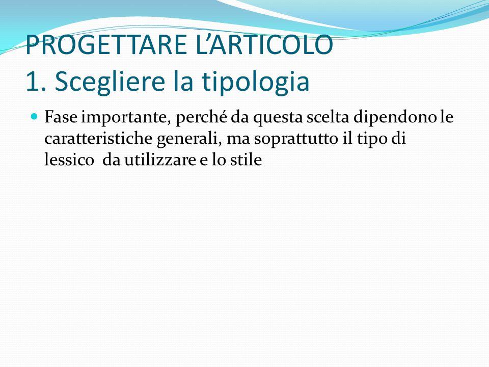 PROGETTARE L'ARTICOLO 1.