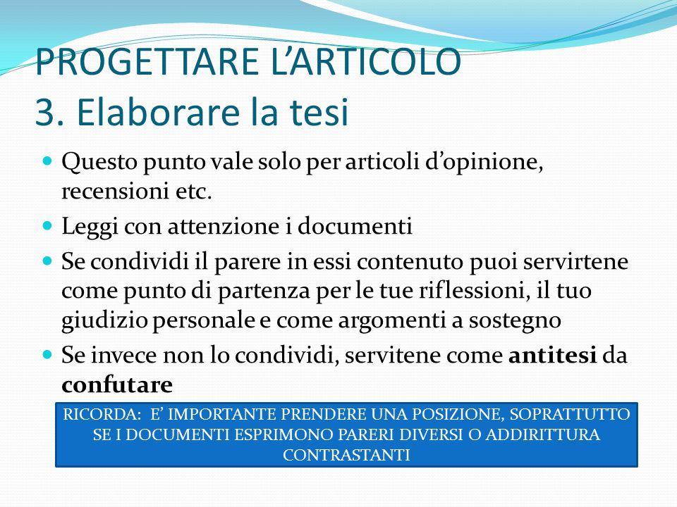 PROGETTARE L'ARTICOLO 3.