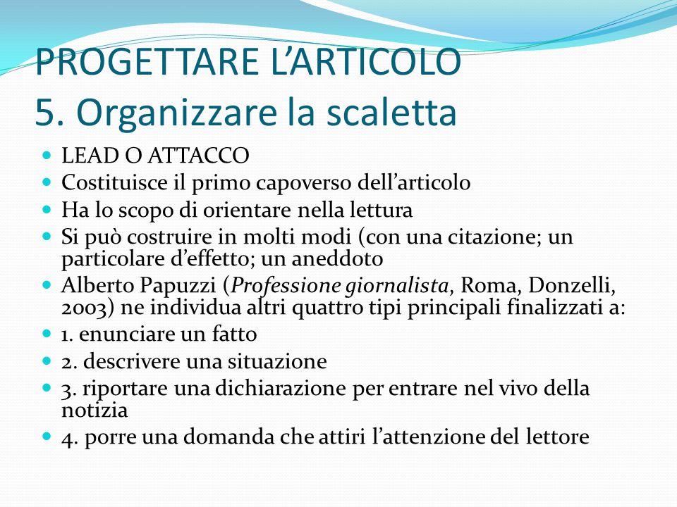 PROGETTARE L'ARTICOLO 5.