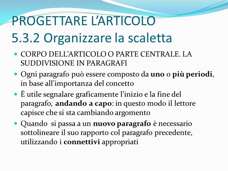 PROGETTARE L'ARTICOLO 5.3.2 Organizzare la scaletta CORPO DELL'ARTICOLO O PARTE CENTRALE.