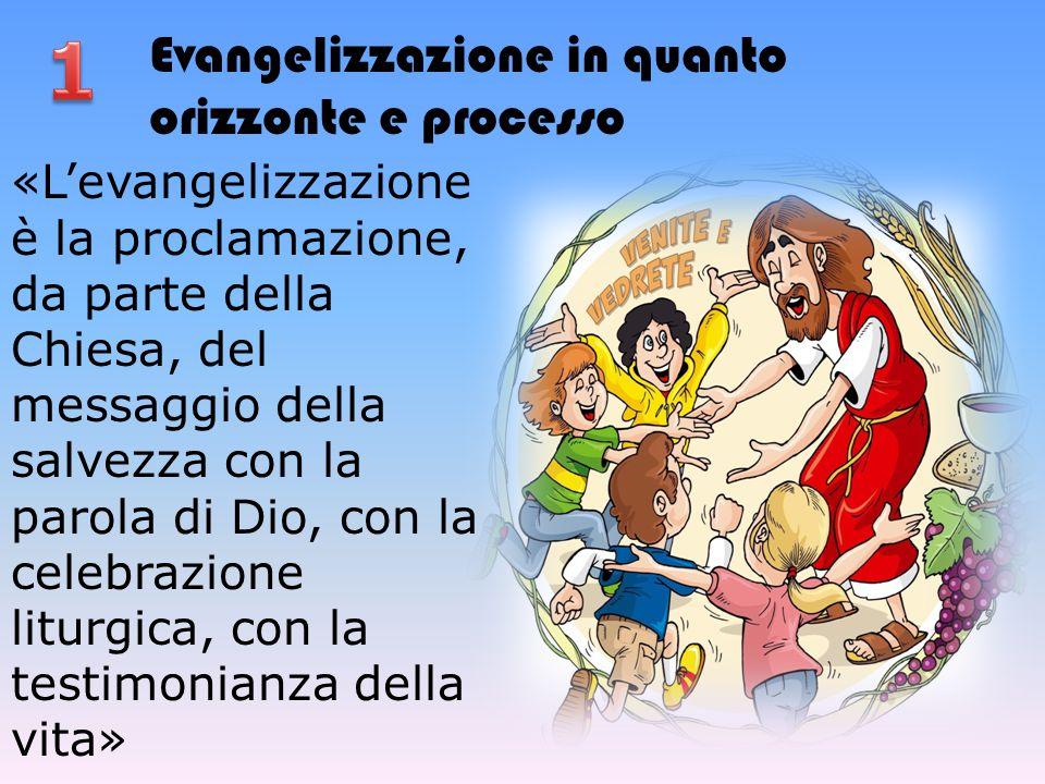 Evangelizzazione in quanto orizzonte e processo «L'evangelizzazione è la proclamazione, da parte della Chiesa, del messaggio della salvezza con la par