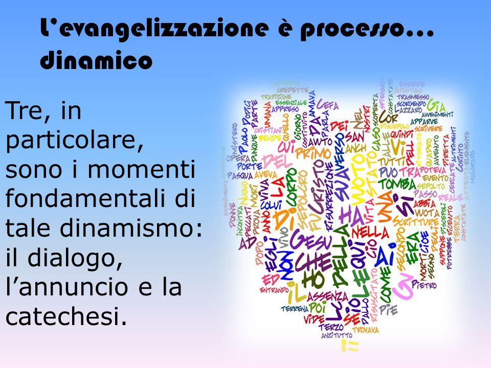 Tre, in particolare, sono i momenti fondamentali di tale dinamismo: il dialogo, l'annuncio e la catechesi. L'evangelizzazione è processo… dinamico