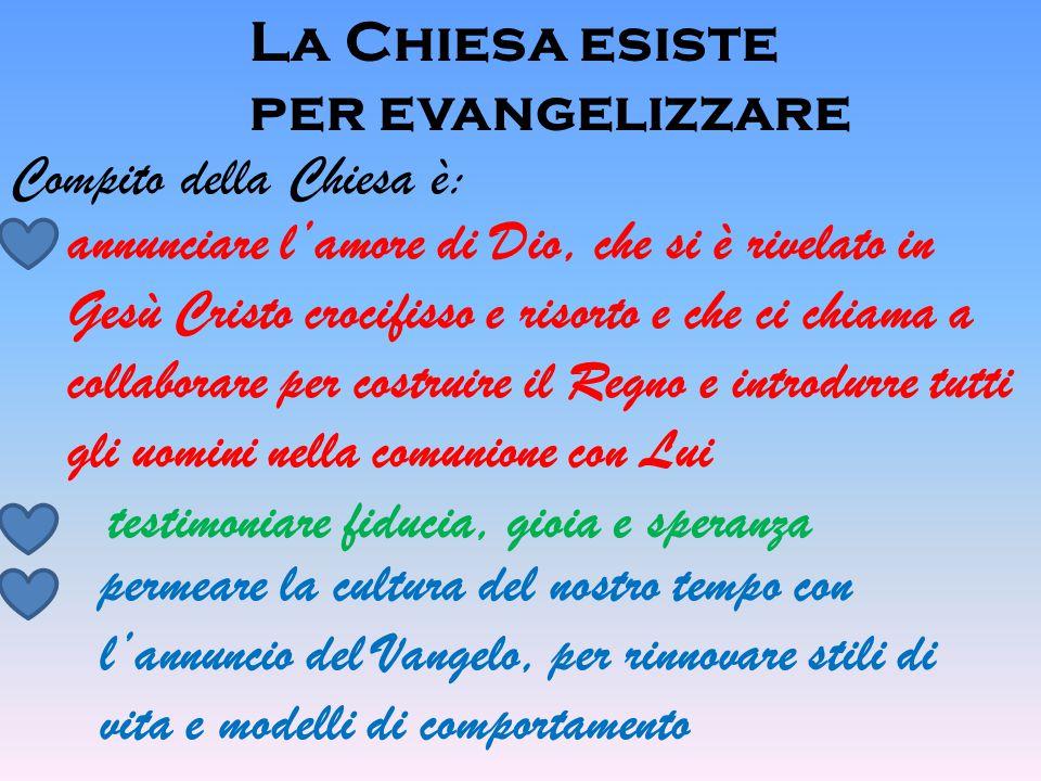 La Chiesa esiste per evangelizzare Compito della Chiesa è: annunciare l'amore di Dio, che si è rivelato in Gesù Cristo crocifisso e risorto e che ci c