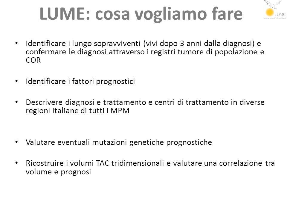 LUME: cosa vogliamo fare Identificare i lungo sopravviventi (vivi dopo 3 anni dalla diagnosi) e confermare le diagnosi attraverso i registri tumore di
