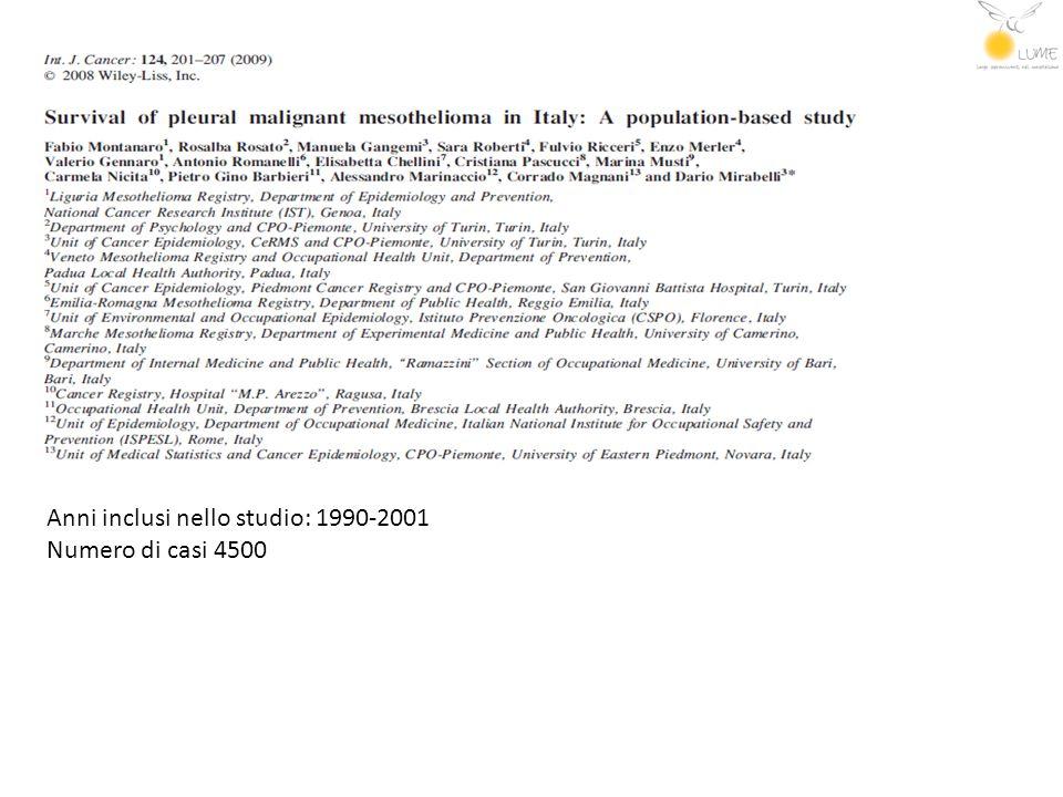 Anni inclusi nello studio: 1990-2001 Numero di casi 4500