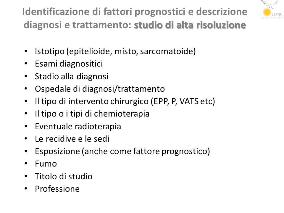studio di alta risoluzione Identificazione di fattori prognostici e descrizione diagnosi e trattamento: studio di alta risoluzione Istotipo (epitelioi