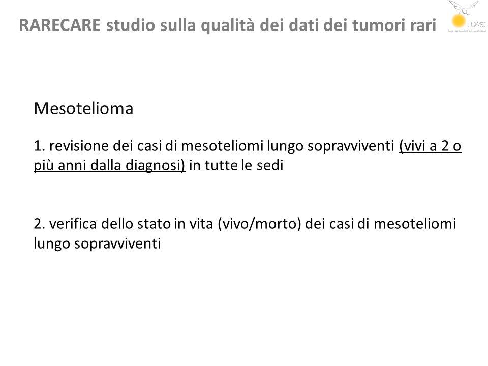 RARECARE studio sulla qualità dei dati dei tumori rari Mesotelioma 1. revisione dei casi di mesoteliomi lungo sopravviventi (vivi a 2 o più anni dalla