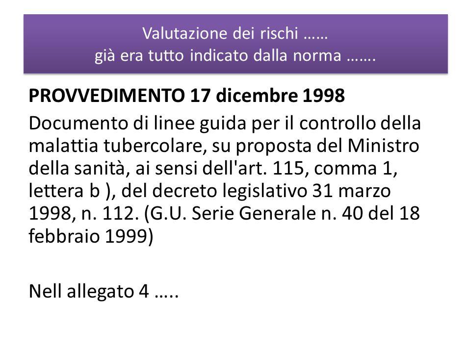 Valutazione dei rischi …… già era tutto indicato dalla norma ……. PROVVEDIMENTO 17 dicembre 1998 Documento di linee guida per il controllo della malatt
