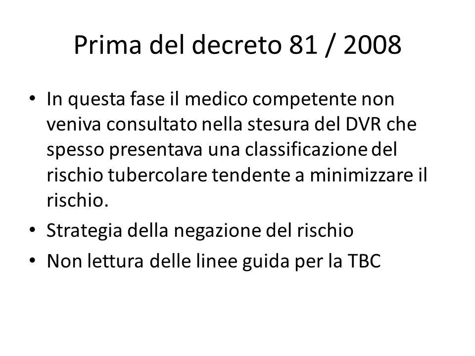 Prima del decreto 81 / 2008 In questa fase il medico competente non veniva consultato nella stesura del DVR che spesso presentava una classificazione
