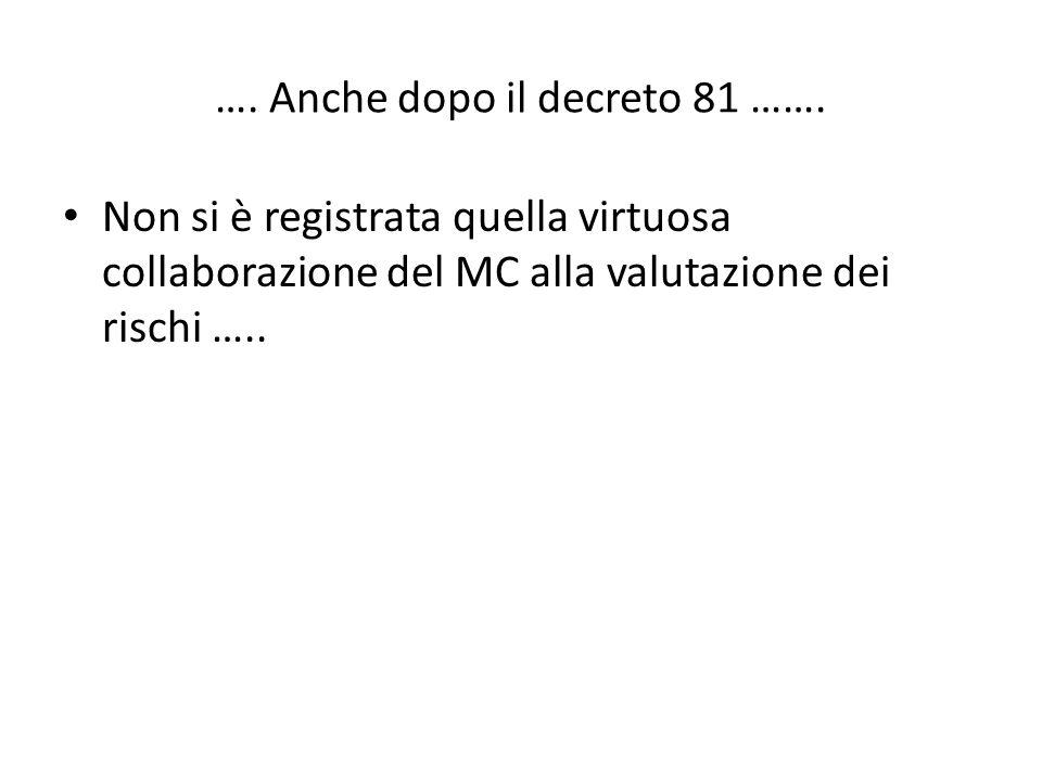 …. Anche dopo il decreto 81 ……. Non si è registrata quella virtuosa collaborazione del MC alla valutazione dei rischi …..