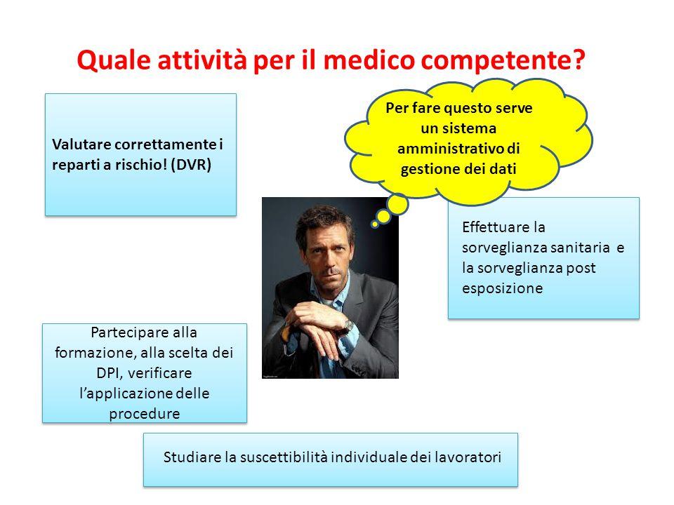 Quale attività per il medico competente? Valutare correttamente i reparti a rischio! (DVR) Effettuare la sorveglianza sanitaria e la sorveglianza post