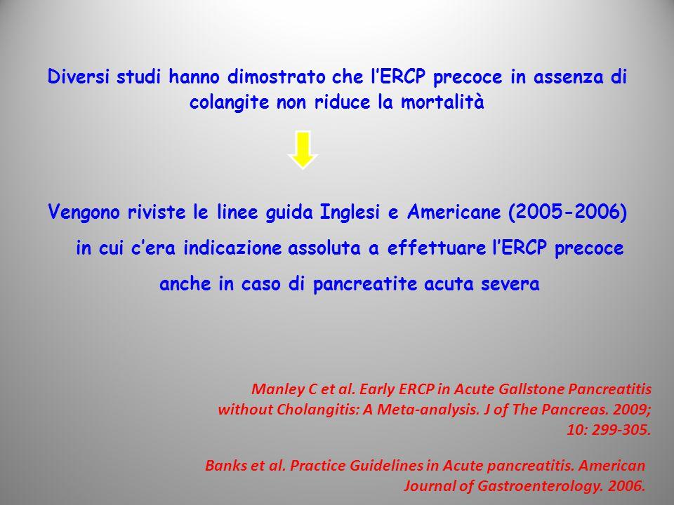 Diversi studi hanno dimostrato che l'ERCP precoce in assenza di colangite non riduce la mortalità Vengono riviste le linee guida Inglesi e Americane (2005-2006) in cui c'era indicazione assoluta a effettuare l'ERCP precoce anche in caso di pancreatite acuta severa Manley C et al.