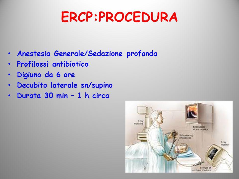 Anestesia Generale/Sedazione profonda Profilassi antibiotica Digiuno da 6 ore Decubito laterale sn/supino Durata 30 min – 1 h circa ERCP:PROCEDURA