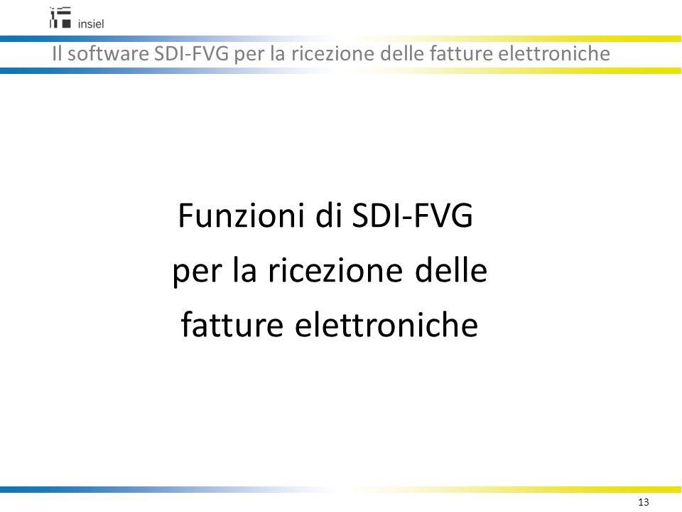 13 Il software SDI-FVG per la ricezione delle fatture elettroniche Funzioni di SDI-FVG per la ricezione delle fatture elettroniche