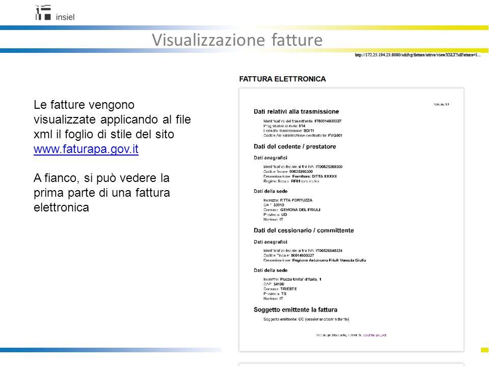22 Visualizzazione fatture Le fatture vengono visualizzate applicando al file xml il foglio di stile del sito www.faturapa.gov.it www.faturapa.gov.it A fianco, si può vedere la prima parte di una fattura elettronica