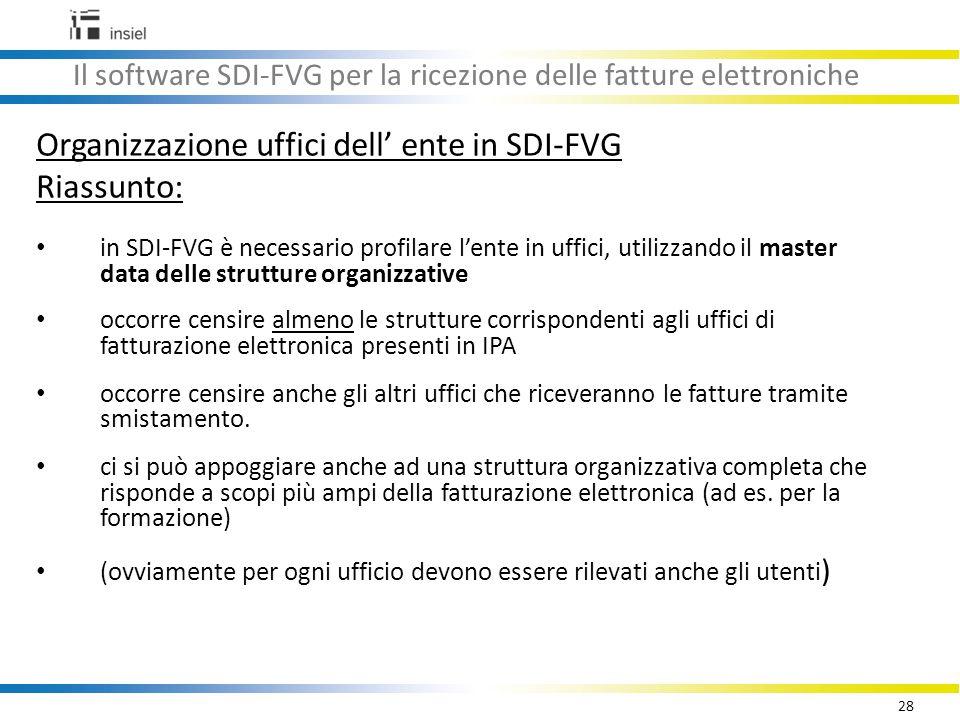 28 Il software SDI-FVG per la ricezione delle fatture elettroniche Organizzazione uffici dell' ente in SDI-FVG Riassunto: in SDI-FVG è necessario profilare l'ente in uffici, utilizzando il master data delle strutture organizzative occorre censire almeno le strutture corrispondenti agli uffici di fatturazione elettronica presenti in IPA occorre censire anche gli altri uffici che riceveranno le fatture tramite smistamento.