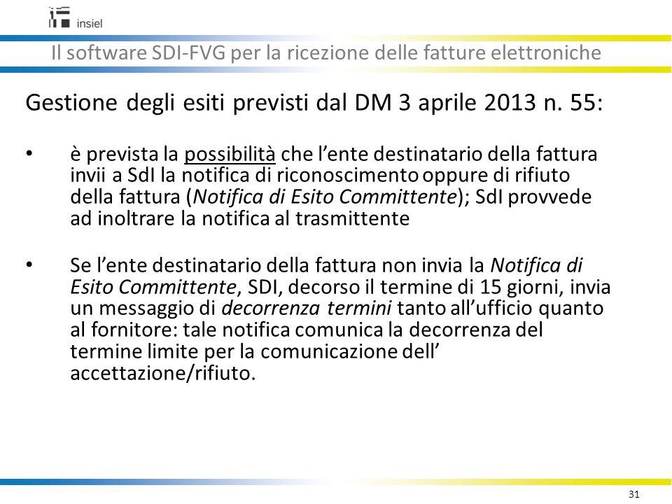 31 Il software SDI-FVG per la ricezione delle fatture elettroniche Gestione degli esiti previsti dal DM 3 aprile 2013 n.
