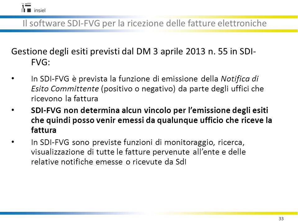 33 Il software SDI-FVG per la ricezione delle fatture elettroniche Gestione degli esiti previsti dal DM 3 aprile 2013 n.