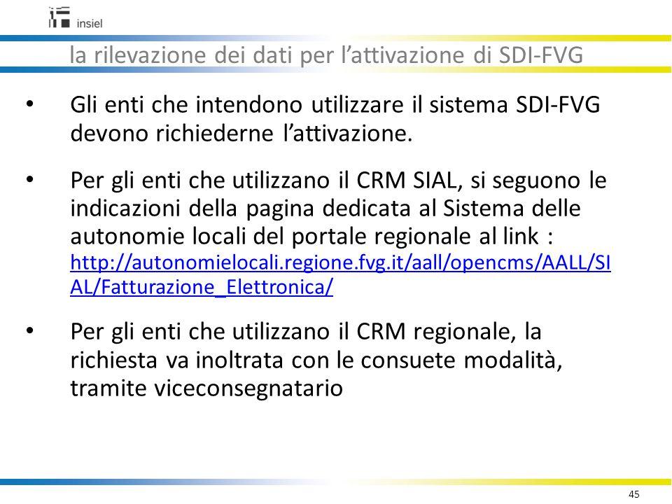 45 la rilevazione dei dati per l'attivazione di SDI-FVG Gli enti che intendono utilizzare il sistema SDI-FVG devono richiederne l'attivazione.