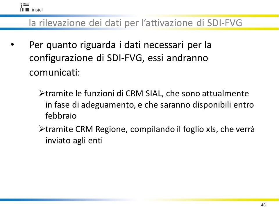 46 la rilevazione dei dati per l'attivazione di SDI-FVG Per quanto riguarda i dati necessari per la configurazione di SDI-FVG, essi andranno comunicati:  tramite le funzioni di CRM SIAL, che sono attualmente in fase di adeguamento, e che saranno disponibili entro febbraio  tramite CRM Regione, compilando il foglio xls, che verrà inviato agli enti