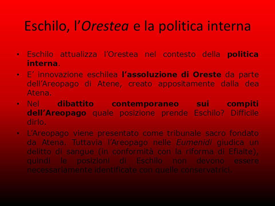 Eschilo, l'Orestea e la politica interna Eschilo attualizza l'Orestea nel contesto della politica interna.