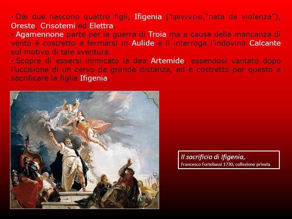 Dai due nascono quattro figli, Ifigenia ( Ἰ φιγ έ νεια, nata da violenza ), Oreste, Crisotemi ed Elettra.
