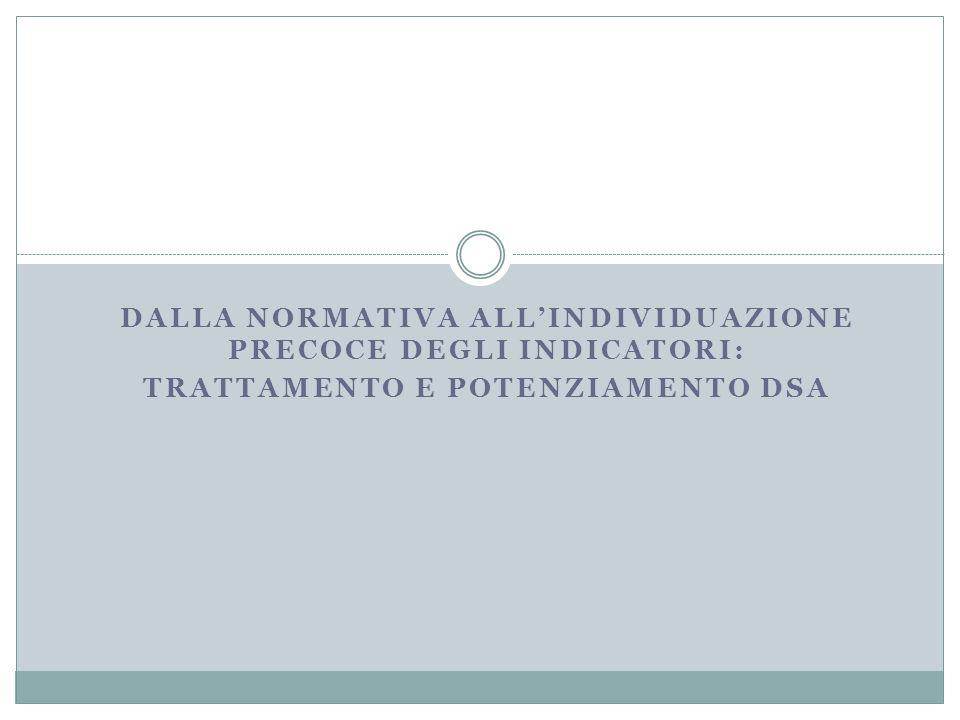 DALLA NORMATIVA ALL'INDIVIDUAZIONE PRECOCE DEGLI INDICATORI: TRATTAMENTO E POTENZIAMENTO DSA
