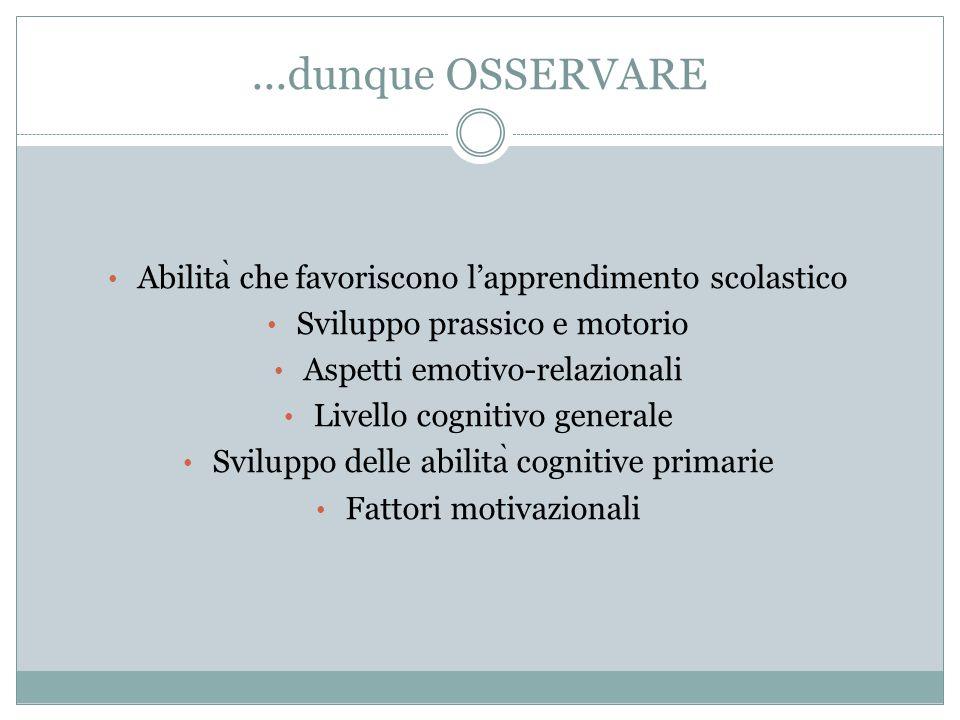 ...dunque OSSERVARE Abilita ̀ che favoriscono l'apprendimento scolastico Sviluppo prassico e motorio Aspetti emotivo-relazionali Livello cognitivo gen