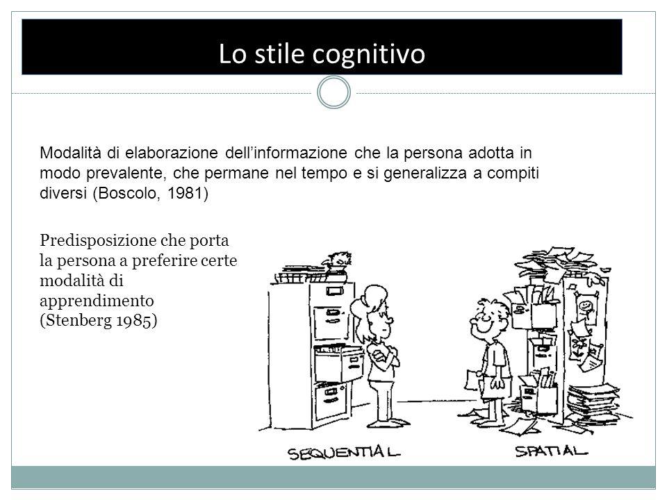 Lo stile cognitivo Modalità di elaborazione dell'informazione che la persona adotta in modo prevalente, che permane nel tempo e si generalizza a compi