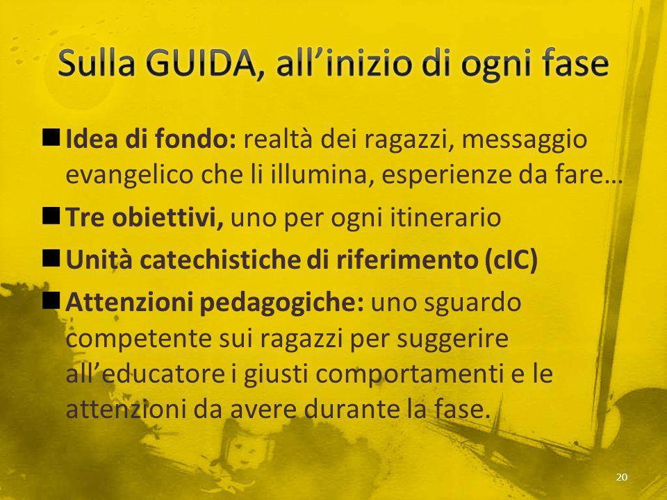 Idea di fondo: realtà dei ragazzi, messaggio evangelico che li illumina, esperienze da fare… Tre obiettivi, uno per ogni itinerario Unità catechistich