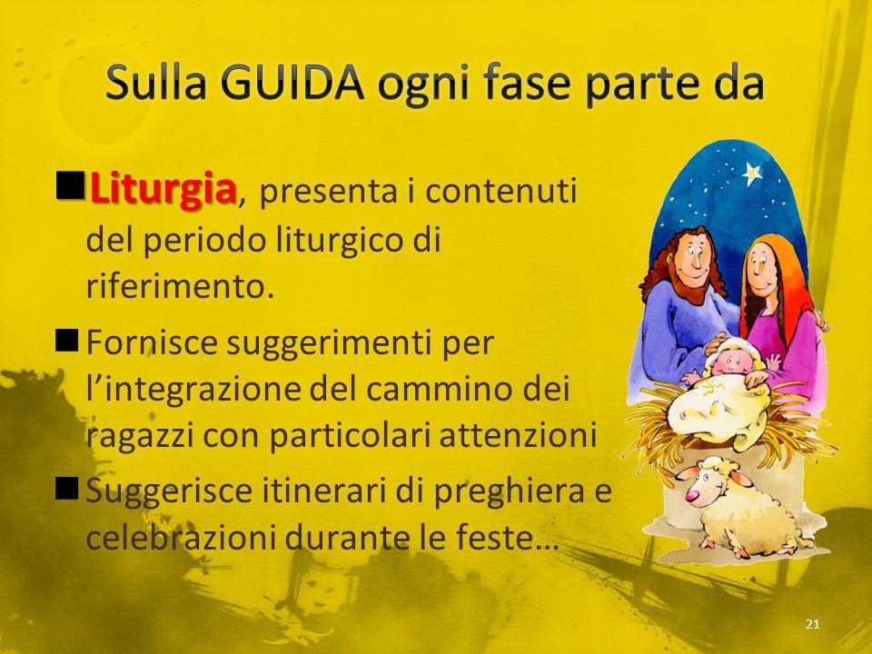 Liturgia Liturgia, presenta i contenuti del periodo liturgico di riferimento. Fornisce suggerimenti per l'integrazione del cammino dei ragazzi con par