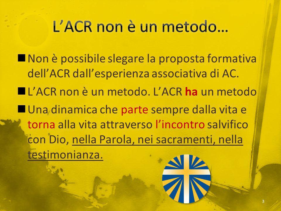 Non è possibile slegare la proposta formativa dell'ACR dall'esperienza associativa di AC. L'ACR non è un metodo. L'ACR ha un metodo Una dinamica che p
