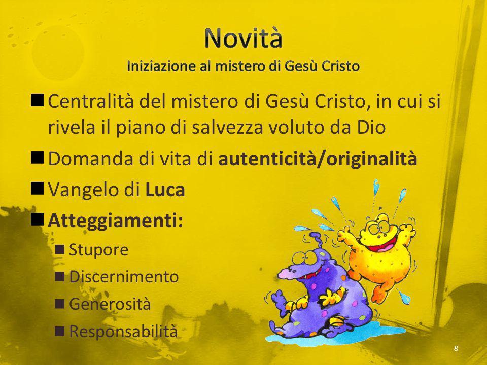 Centralità del mistero di Gesù Cristo, in cui si rivela il piano di salvezza voluto da Dio Domanda di vita di autenticità/originalità Vangelo di Luca