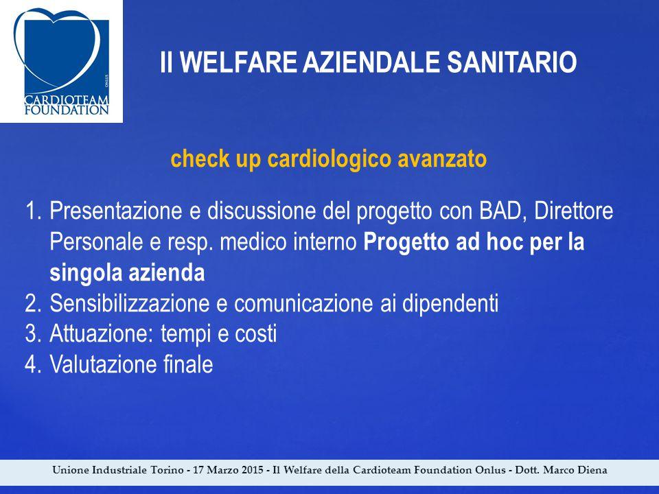 Unione Industriale Torino - 17 Marzo 2015 - Il Welfare della Cardioteam Foundation Onlus - Dott. Marco Diena Il WELFARE AZIENDALE SANITARIO check up c