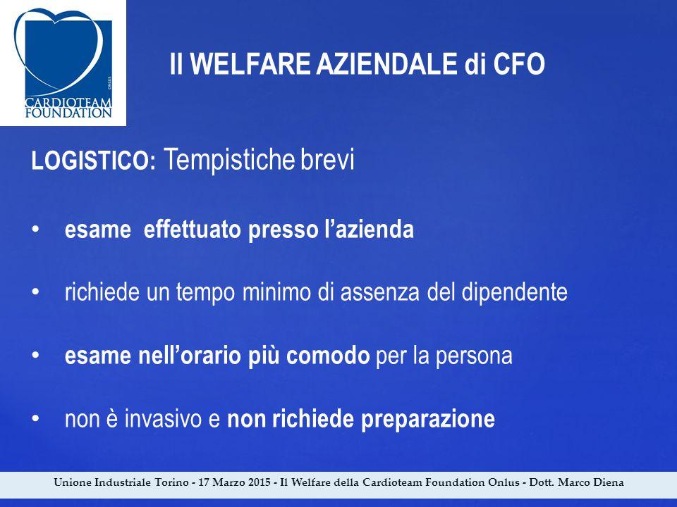 Unione Industriale Torino - 17 Marzo 2015 - Il Welfare della Cardioteam Foundation Onlus - Dott. Marco Diena Il WELFARE AZIENDALE di CFO LOGISTICO: Te