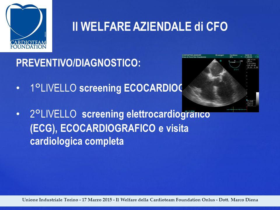 Unione Industriale Torino - 17 Marzo 2015 - Il Welfare della Cardioteam Foundation Onlus - Dott. Marco Diena Il WELFARE AZIENDALE di CFO PREVENTIVO/DI