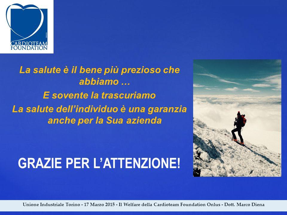 Unione Industriale Torino - 17 Marzo 2015 - Il Welfare della Cardioteam Foundation Onlus - Dott. Marco Diena La salute è il bene più prezioso che abbi