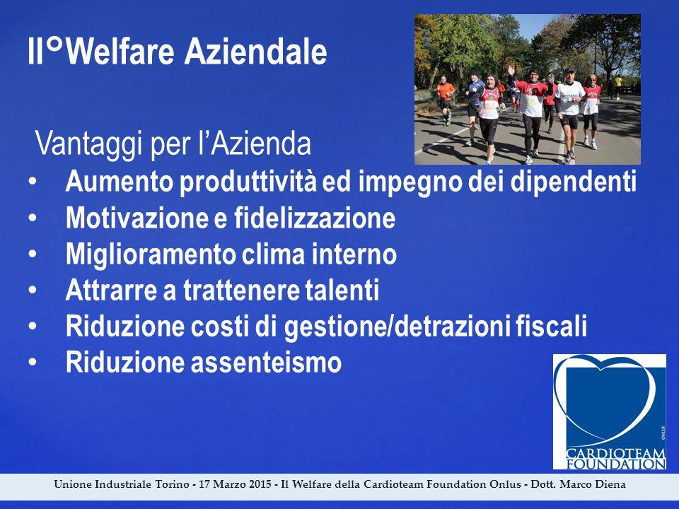 Unione Industriale Torino - 17 Marzo 2015 - Il Welfare della Cardioteam Foundation Onlus - Dott. Marco Diena II°Welfare Aziendale Vantaggi per l'Azien