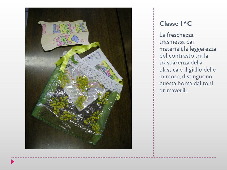 Classe 1^C La freschezza trasmessa dai materiali, la leggerezza del contrasto tra la trasparenza della plastica e il giallo delle mimose, distinguono