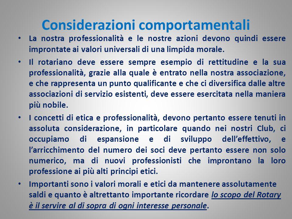 Considerazioni comportamentali La nostra professionalità e le nostre azioni devono quindi essere improntate ai valori universali di una limpida morale.