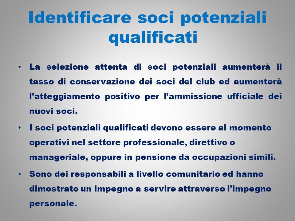 Identificare soci potenziali qualificati La selezione attenta di soci potenziali aumenterà il tasso di conservazione dei soci del club ed aumenterà l'atteggiamento positivo per l'ammissione ufficiale dei nuovi soci.