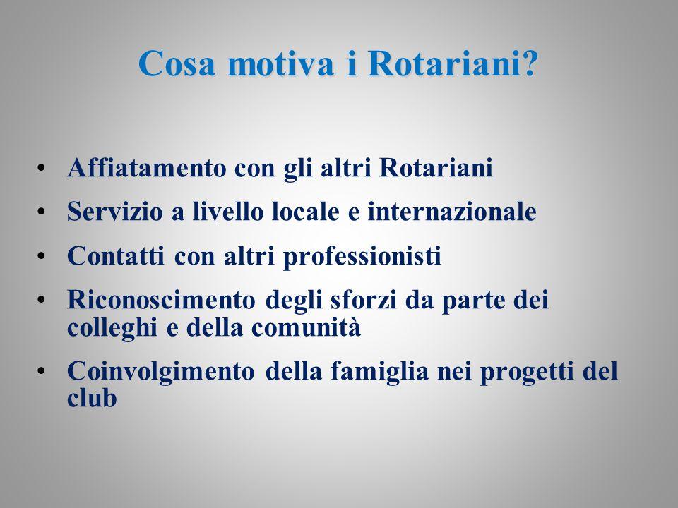 Cosa motiva i Rotariani? Affiatamento con gli altri Rotariani Servizio a livello locale e internazionale Contatti con altri professionisti Riconoscime