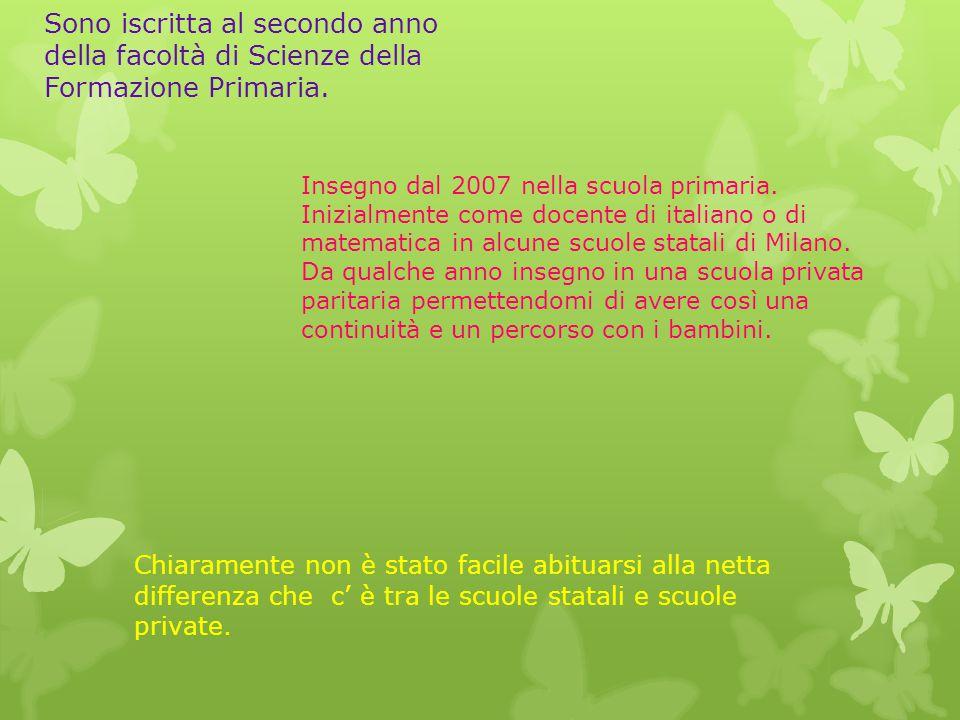 Insegno dal 2007 nella scuola primaria. Inizialmente come docente di italiano o di matematica in alcune scuole statali di Milano. Da qualche anno inse