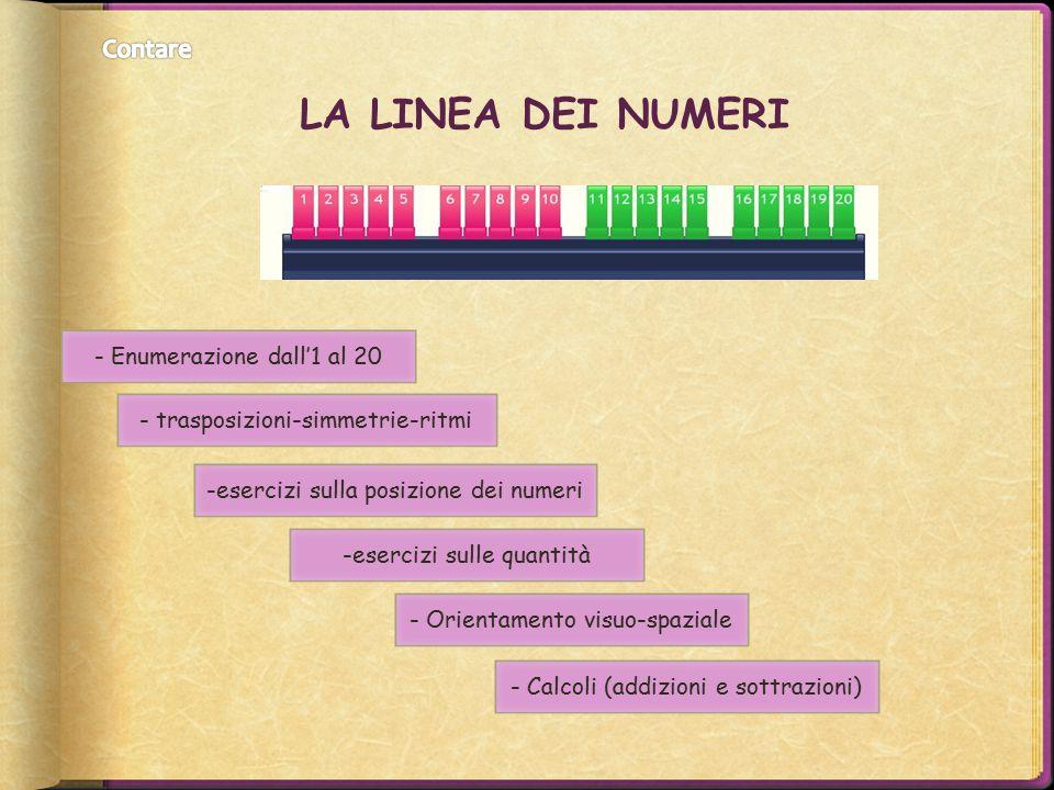 LA LINEA DEI NUMERI - Enumerazione dall'1 al 20 - trasposizioni-simmetrie-ritmi -esercizi sulla posizione dei numeri -esercizi sulle quantità - Orient