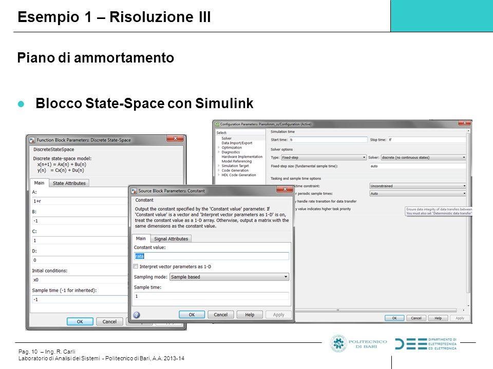 Pag. 10 – Ing. R. Carli Laboratorio di Analisi dei Sistemi - Politecnico di Bari, A.A. 2013-14 Piano di ammortamento Blocco State-Space con Simulink E